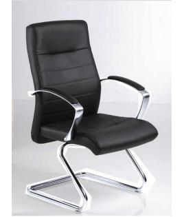 Fauteuil visiteur ergonomique en cuir noir Harly - EOL