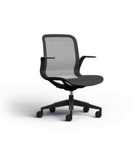Chaise visiteur ergonomique en résille noir Elton - EOL