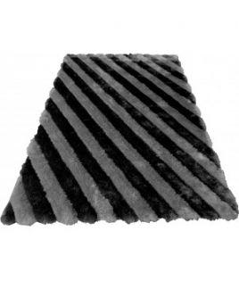 Tapis rayure noir/gris