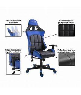 Photo de la chaise coloris bleue et noire avec description des options
