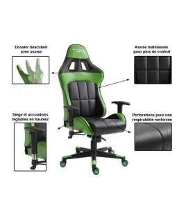 Photo de la chaise coloris verte et noire avec description des options