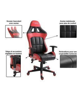 Photo de la chaise coloris rouge et noire avec description des options