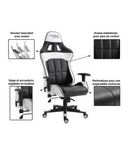 Photo de la chaise coloris blanche et noire avec description des options