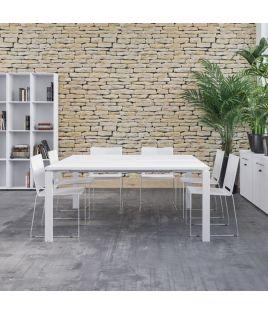 Photo de table de réunion Astro plateau blanc et pieds blancs.